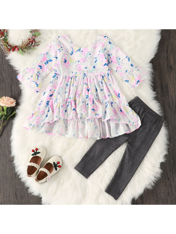 【12M-5Y】Girls Floral Print Long Sleeve Top And Pants Set