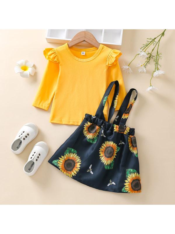 【12M-5Y】Girls Yellow Long Sleeve Tee Sunflower Print Suspender Skirt Suit