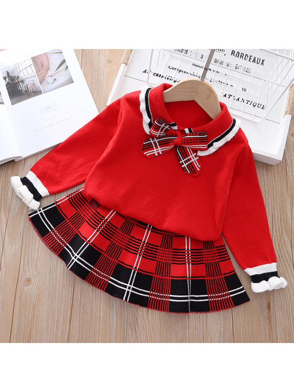【18M-4Y】Girls Sweet Bow Top And Plaid Skirt Set