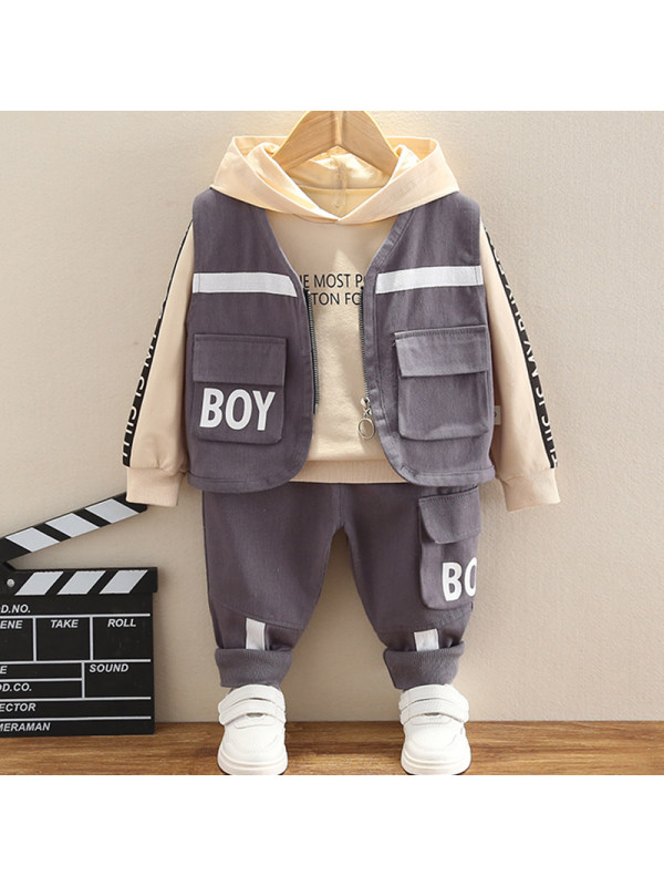 【12M-4Y】Boys Casual Letters Pattern Hoodie Vest Pants Three-piece Set