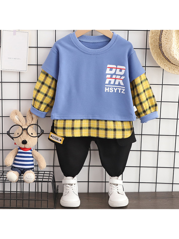 【12M-5Y】Boys Casual Letters Pattern Sweatshirt Pants Set