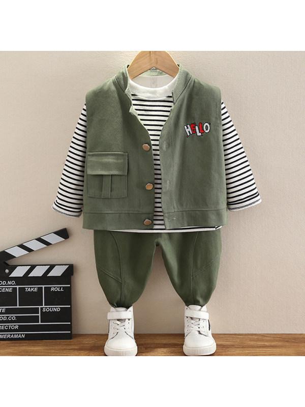 【12M-4Y】Boys Casual Striped T-shirt Vest Pants Three-piece Set
