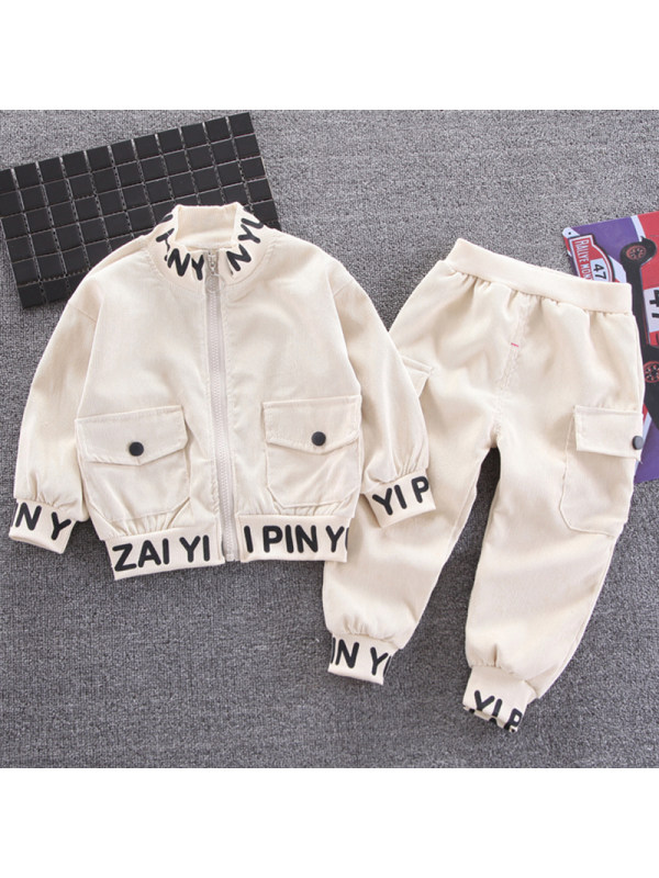 【12M-5Y】Boys Casual Letter Pattern Jacket Pants Set