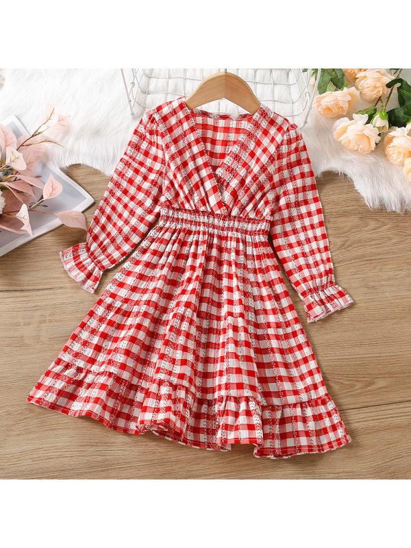 【18M-7Y】Girls V-neck Plaid Long-sleeved Dress
