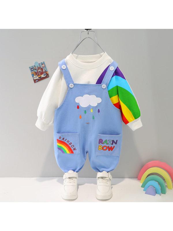 【9M-4Y】Kids Rainbow Print Sweatshirt And Pants Set
