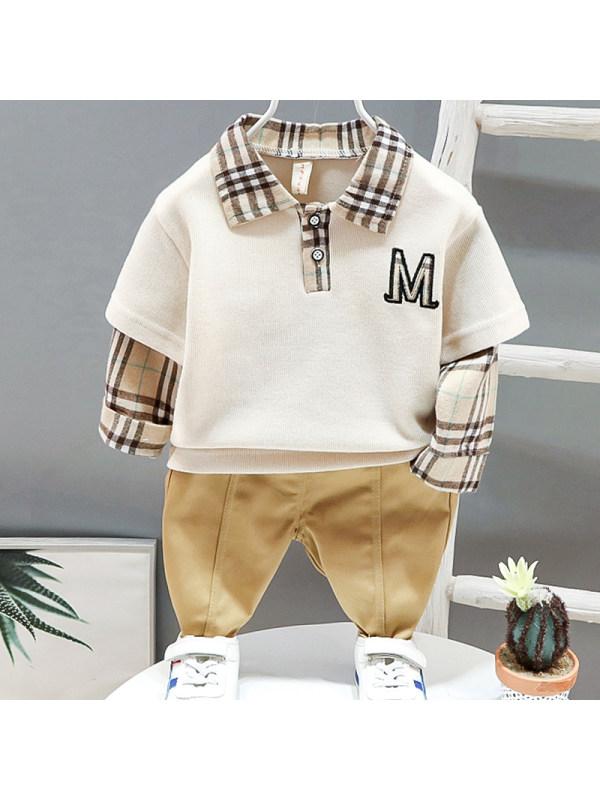 【12M-4Y】Boys Casual Plaid Stitching Sweatshirt Pants Set