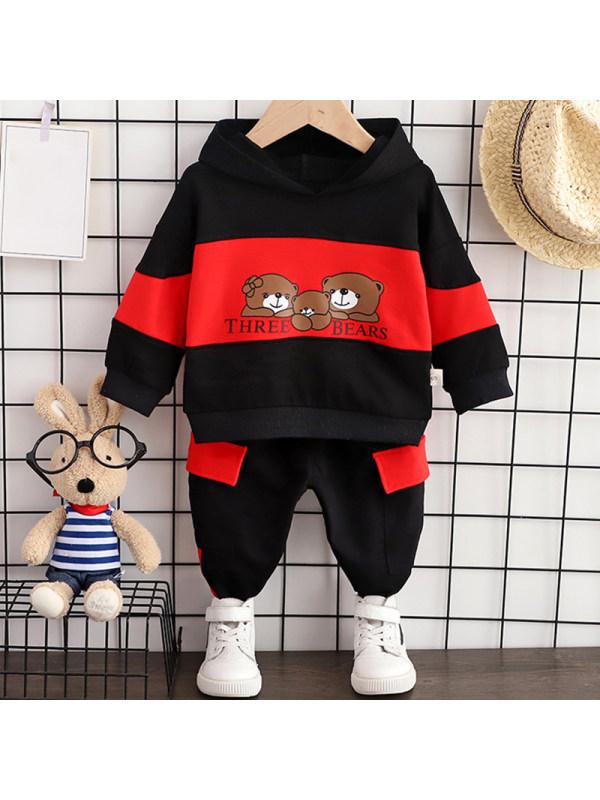 【12M-5Y】Boys Casual Bear Pattern Sweatshirt Pants Set