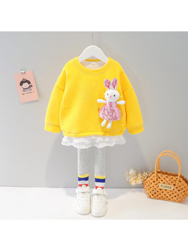 【6M-4Y】Girls Rabbit Round Neck Sweatshirt And Pants Set