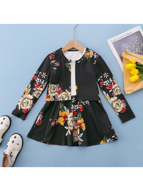 【18M-7Y】Girls Floral Print Long Sleeve Dress Coat Two Pieces Set