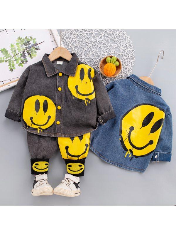 【12M-4Y】Boys Casual Smiley Pattern Denim Shirt Pants Set