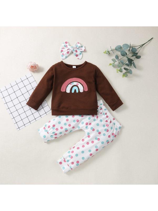 【6M-4Y】Girls Rainbow Polka Dot Print Sweatshirt And Pants Set With Headband