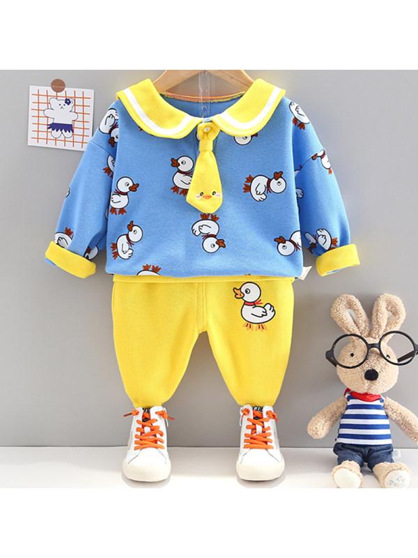 【12M-4Y】Kids Casual Duck Pattern Sweatshirt Pants Suit