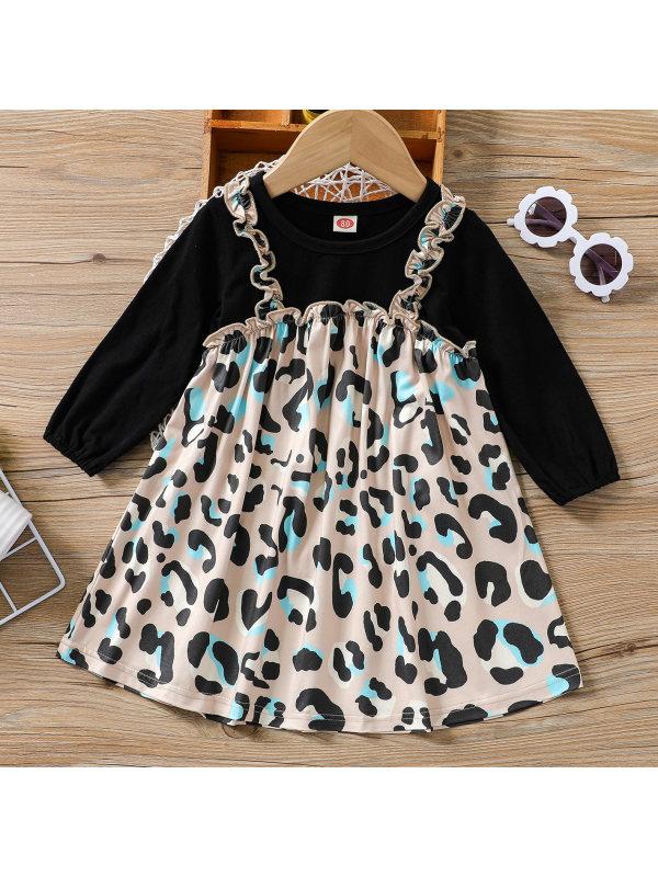 【3M-24M】Baby Sweet Leopard Print Fake Two-piece Dress
