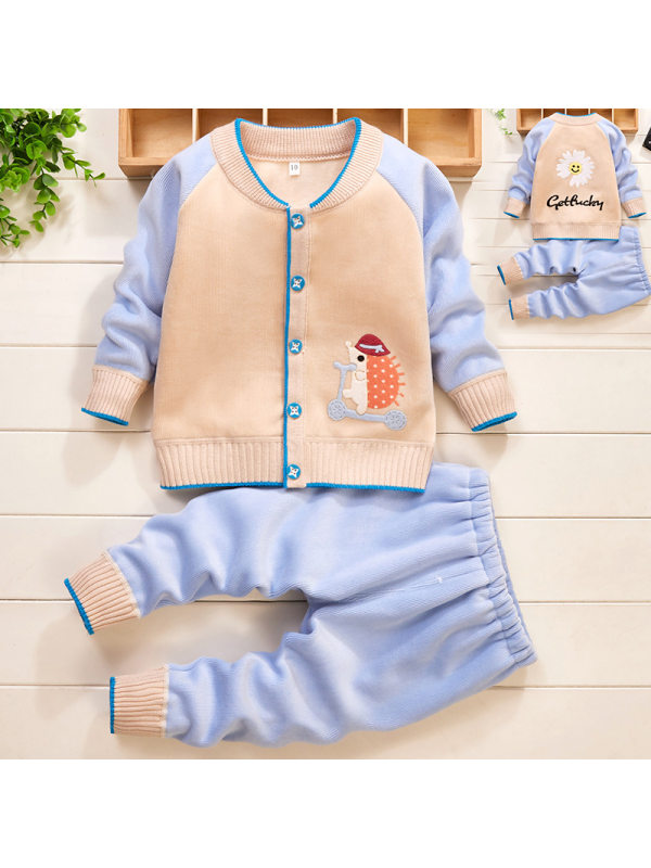 【6M-3Y】Baby Girl Cute Cartoon Embroidery Long Sleeve Jacket And Pants Set