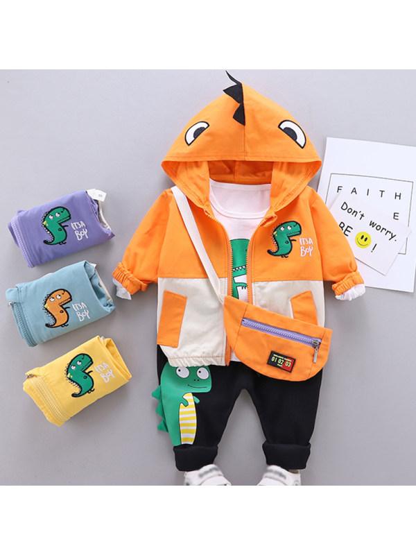 【12M-7Y】Boys Casual Dinosaur Pattern Jacket T-shirt Pants Three-piece Set With Bag