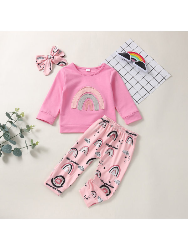 【6M-4Y】Girls Pink Rainbow Print Sweatshirt And Pants Set With Headband