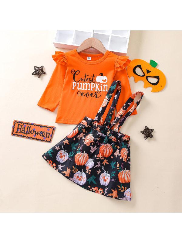 【12M-5Y】Girls Orange Halloween Print Long Sleeve Tee Suspender Skirt Suit