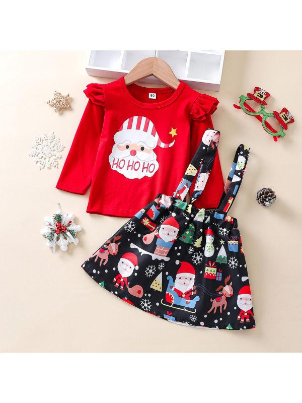 【12M-5Y】Girls Red Long Sleeve Tee Christmas Snowman Print Suspender Skirt Suit