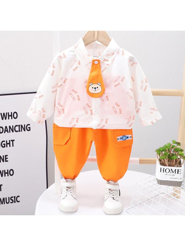 【12M-5Y】Boys Casual Bear Pattern Shirt Pants Set