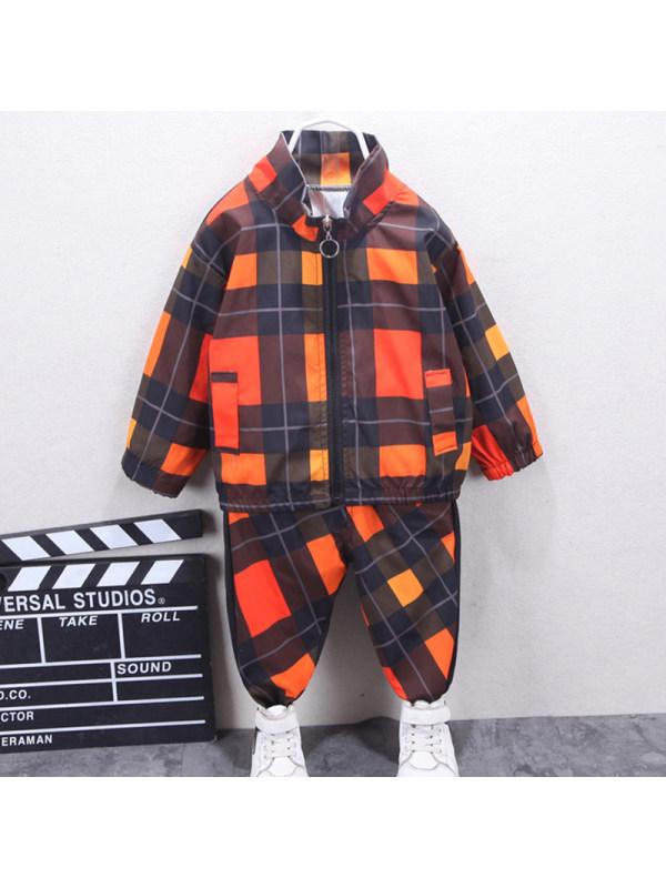 【12M-5Y】Boys Casual Plaid Jacket Pants Set