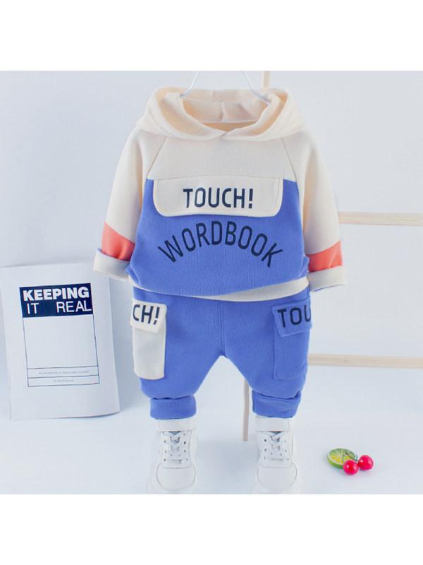 【12M-5Y】Boys Casual Letters Pattern Hooded Sweatshirt Pants Set