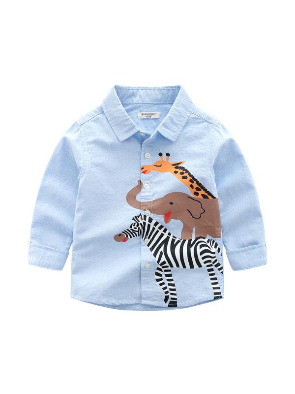 【18M-7Y】Boys Animals Print Lapel Long Sleeve Shirt