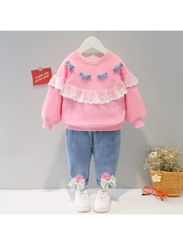 【9M-4Y】Girls Sweet Lace Splicing Round Neck Sweatshirt And Pants Set