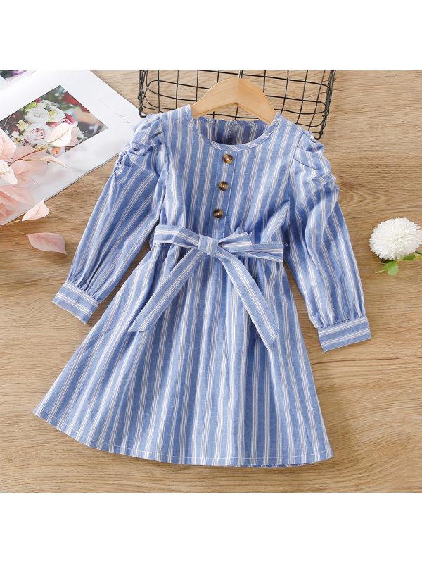 【18M-7Y】Girls Striped Puff Sleeve Belt Long Sleeve Dress
