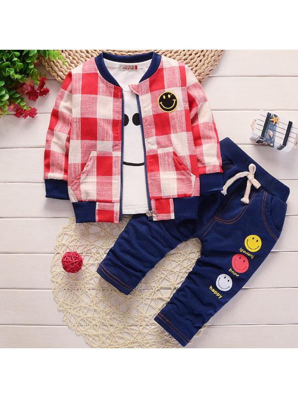 【12M-4Y】Boys Casual Plaid Jacket Printed T-shirt Pants Three-piece Set