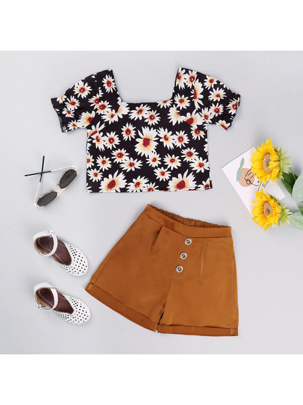 【18M-7Y】Girls Printed Medium Sleeve Top And Shorts Two Piece Set