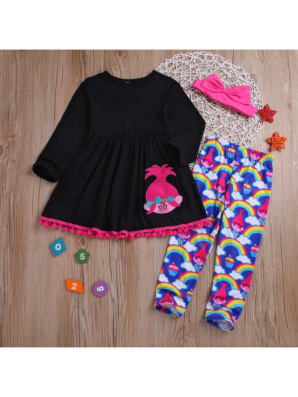 【18M-7Y】Girls Rainbow Doll Cartoon Print Long Sleeve Top Pants Three-piece Suit