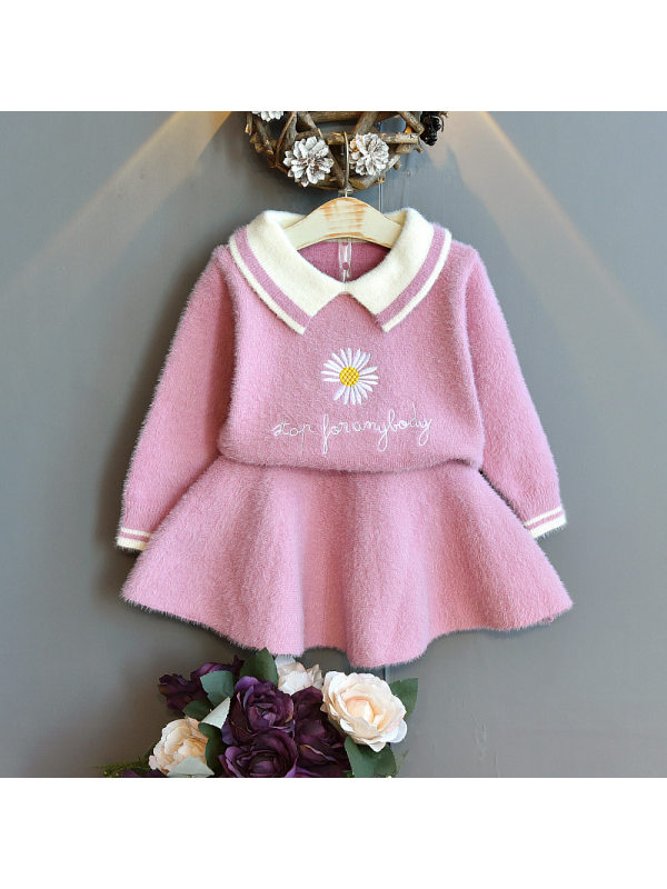 【18M-7Y】Girls Fashion Daisy Embroidery Lapel Sweater Short Skirt Suit