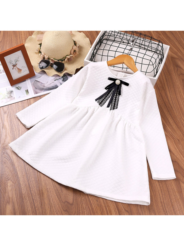 【18M-7Y】Girls Bowknot Decorated Long-sleeved Dress