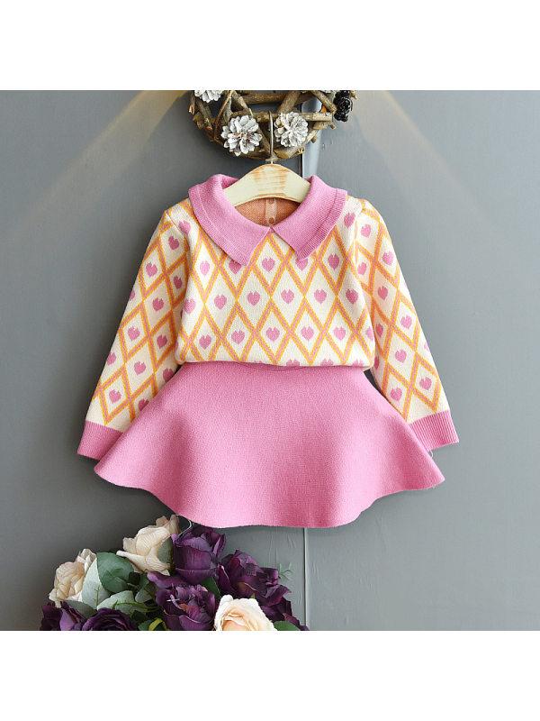 【18M-7Y】Girl Fashion Heart Pattern Lapel Sweater Short Skirt Set