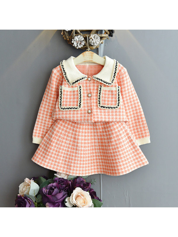【18M-7Y】Girls Little Fragrant Wind Lapel Long-sleeved Sweater Short Skirt Two-piece Suit