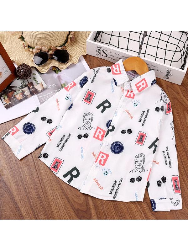 【18M-7Y】Boys Letter Cartoon Print Long Sleeve Shirt