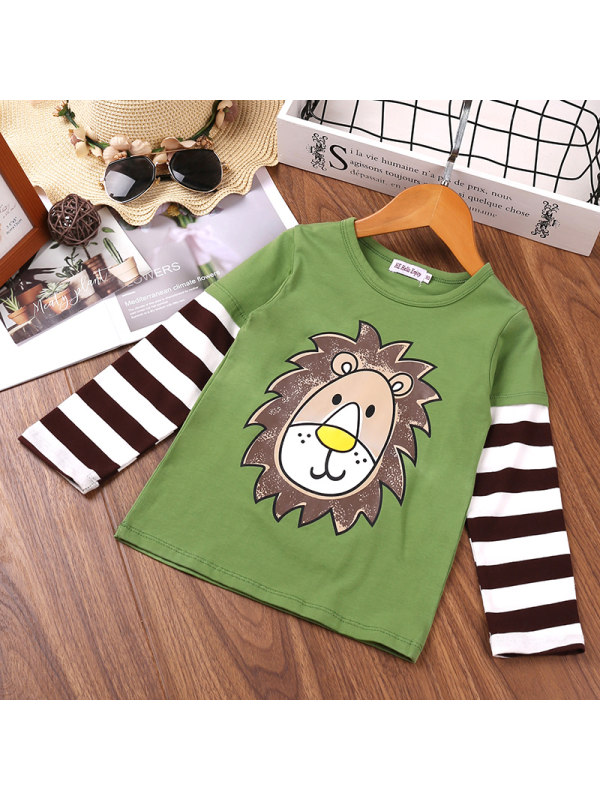 【18M-7Y】Boys Striped Stitching Cartoon Print Long-sleeved Shirt