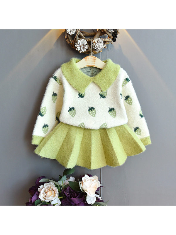 【18M-7Y】Girls Cute Strawberry Pattern Lapel Sweater Pleated Skirt Suit