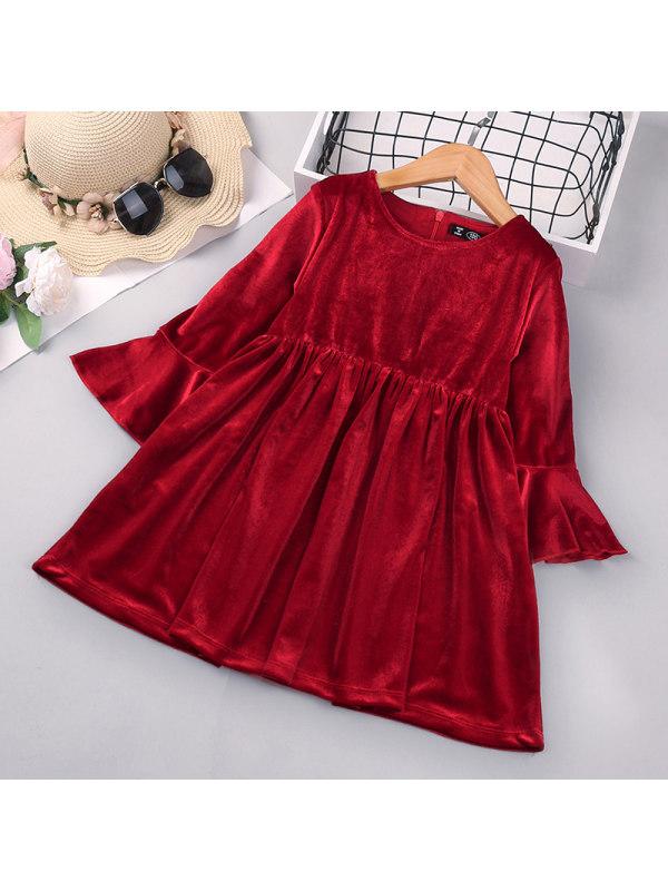 【18M-7Y】Girls Velvet Long-sleeved Dress