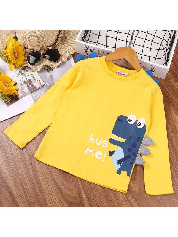 【18M-7Y】Boys Cartoon Dinosaur Print Long-sleeved Shirt