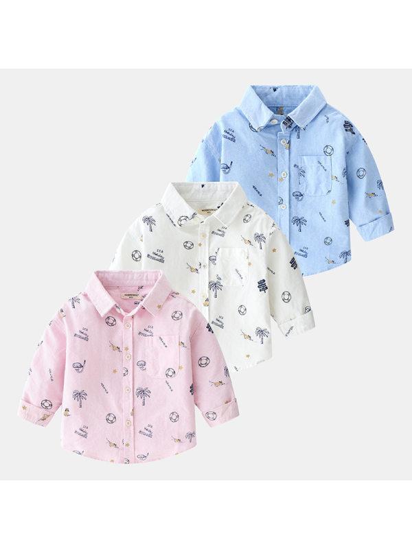 【18M-9Y】Boys Tropical Print Long-sleeved Shirt