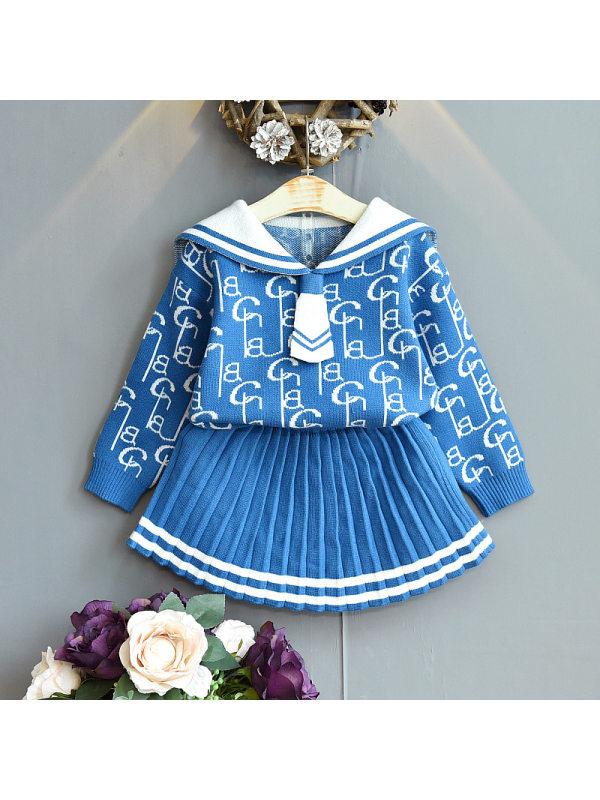 【18M-7Y】Girls Letter Jacquard Lapel Sweater Short Skirt Two Piece Set