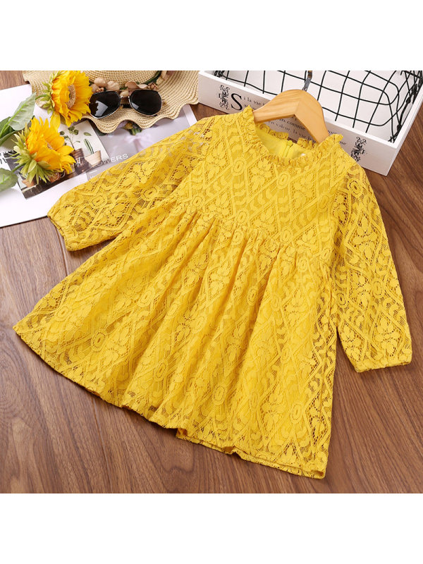 【2Y-7Y】Girls Lace Jacquard Long Sleeve Dress