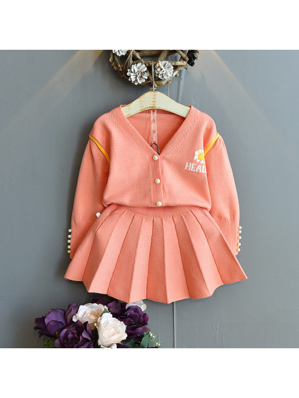 【18M-7Y】Girls Letter Jacquard Cardigan Sweater Short Skirt Two-piece Suit