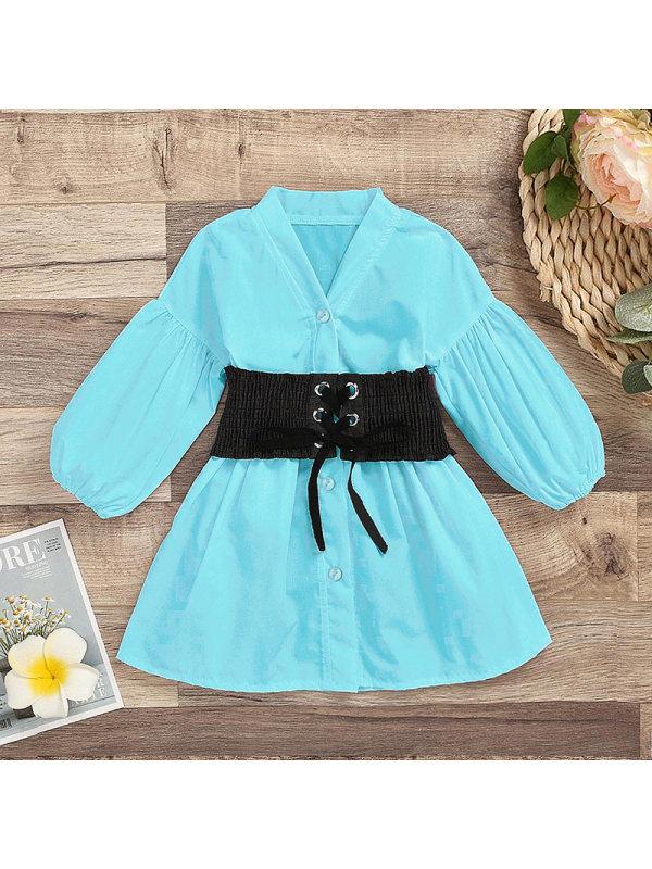 【3Y-11Y】Girls V-neck Temperament Waist Long-sleeved Dress