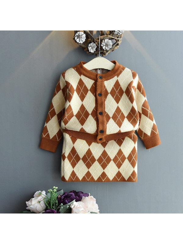 【18M-7Y】Girls Diamond Check Jacquard Sweater Short Skirt Two-piece Suit