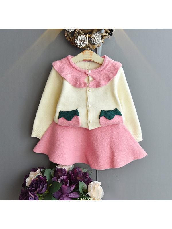 【18M-7Y】Girls Lapel Long Sleeve Sweater Short Skirt Suit