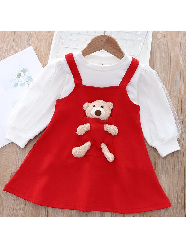 【12M-5Y】Girls Layered Tulle Puff Long Sleeve Tee Cute Bear Suspender Skirt Set