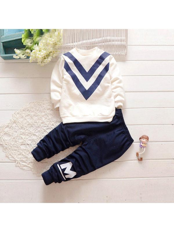 【18M-5Y】Boys Letter Print Long Sleeve Sweatshirt And Pants Set
