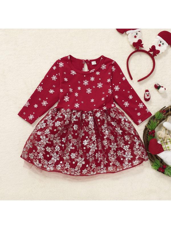 【12M-5Y】Girls Red Snowflake Print Long Sleeve Tulle Splicing Dress